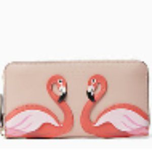 KATE SPADE Large  Flamingo By The Pool Zip Wallet